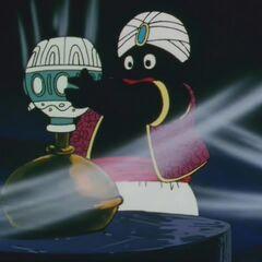 Popo umieszcza flakon z najświętszą wodą