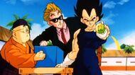 Vegeta pokazuje Goku, że zmierzą się w pierwszej walce
