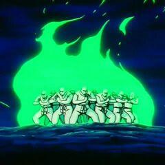 Żuraw i Żółw w towarzystwie innych uczniów Mutaito wykonują Kikō-Hō w walce z dziećmi Daimaō