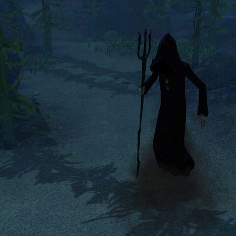 Mroczny Kosiarz pod wodą.