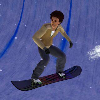 Sim podczas jazdy na snowboardzie
