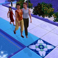 Bella, Jokasta i Wacław na basenie.