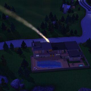 Meteor spadający na dom w <a href=