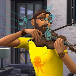 Skrzypce w The Sims 4.