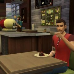Simowie w kawiarni