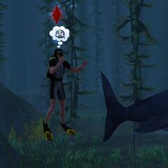 Sim duszący się pod wodą w grze <a href=