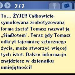 Dymek informacyjny po stworzeniu <b>Simbota</b>.