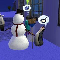 Pingwin rozmawiający z bałwanem