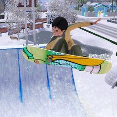 Mortimer w The Sims 3 na snowboardzie