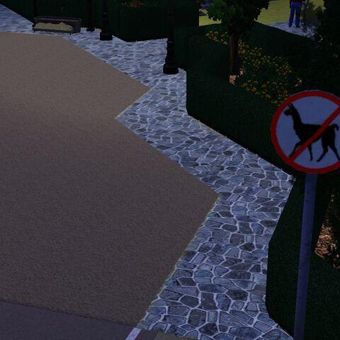 Znak przy cmentarzu w Appaloosa Plains zakazujący wprowadzania lam.