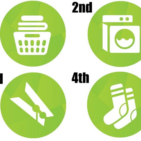 Cztery propozycje ikony dla akcesoriów; ostatecznie wygrał kosz na ubrania