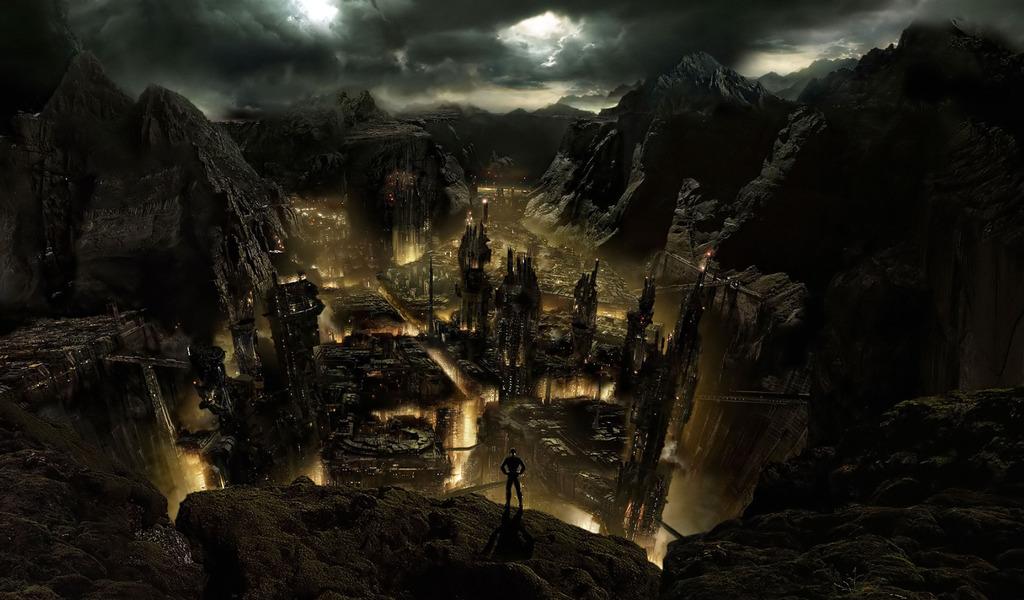 Dark Mountain City Fantasy Wallpaper 3461