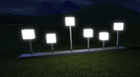 Square Lamp Strip at night - Planet Coaster