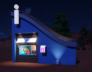 Planet Coaster - Planet Information Booth at night