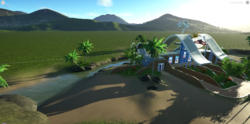 Planet Coaster sandbox tropical entrance2