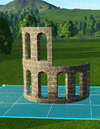 Sandstone Curved Wall Holes stacked