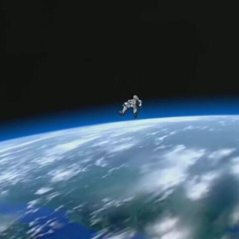 An astronaut falling on Earth.