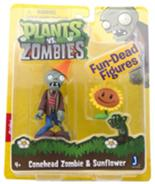 Conehead Zombie & Sunflower figures