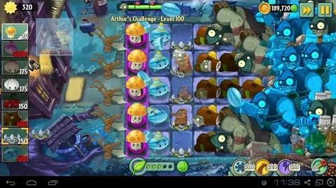 Arthur's Challenge Level 96 to 100 Boost Battle Plants vs Zombies 2 Dark Ages