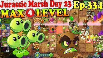 Plants vs. Zombies 2 (China) - Threepeater MAX 4 level - Jurassic Marsh Day 23 (Ep.334)
