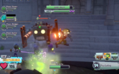 Electro Pea attacking a Robo-Zombie, along a Computer Scientist and a Mech Gargantuar