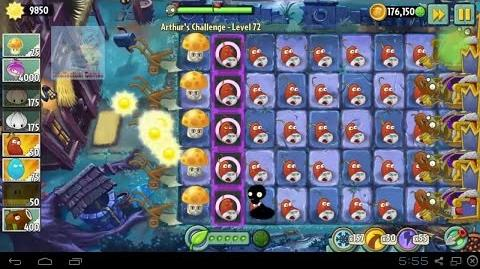 Arthur's Challenge Level 71 to 75 Boost Battle Plants vs Zombies 2 Dark Ages