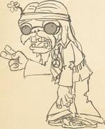 Hippie zombie concept