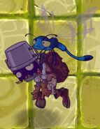 Poisoned Bug Zombie with Buckethead Adventurer Zombie