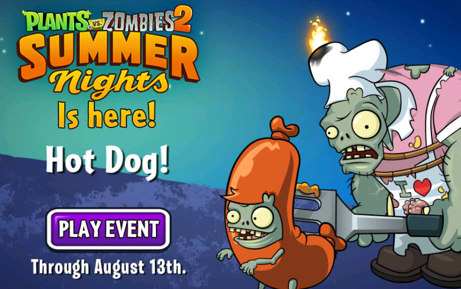 Image plants vs zombies 2 summer nights is here hot dog play plants vs zombies 2 summer nights is here hot dog play event through august 13thg voltagebd Gallery