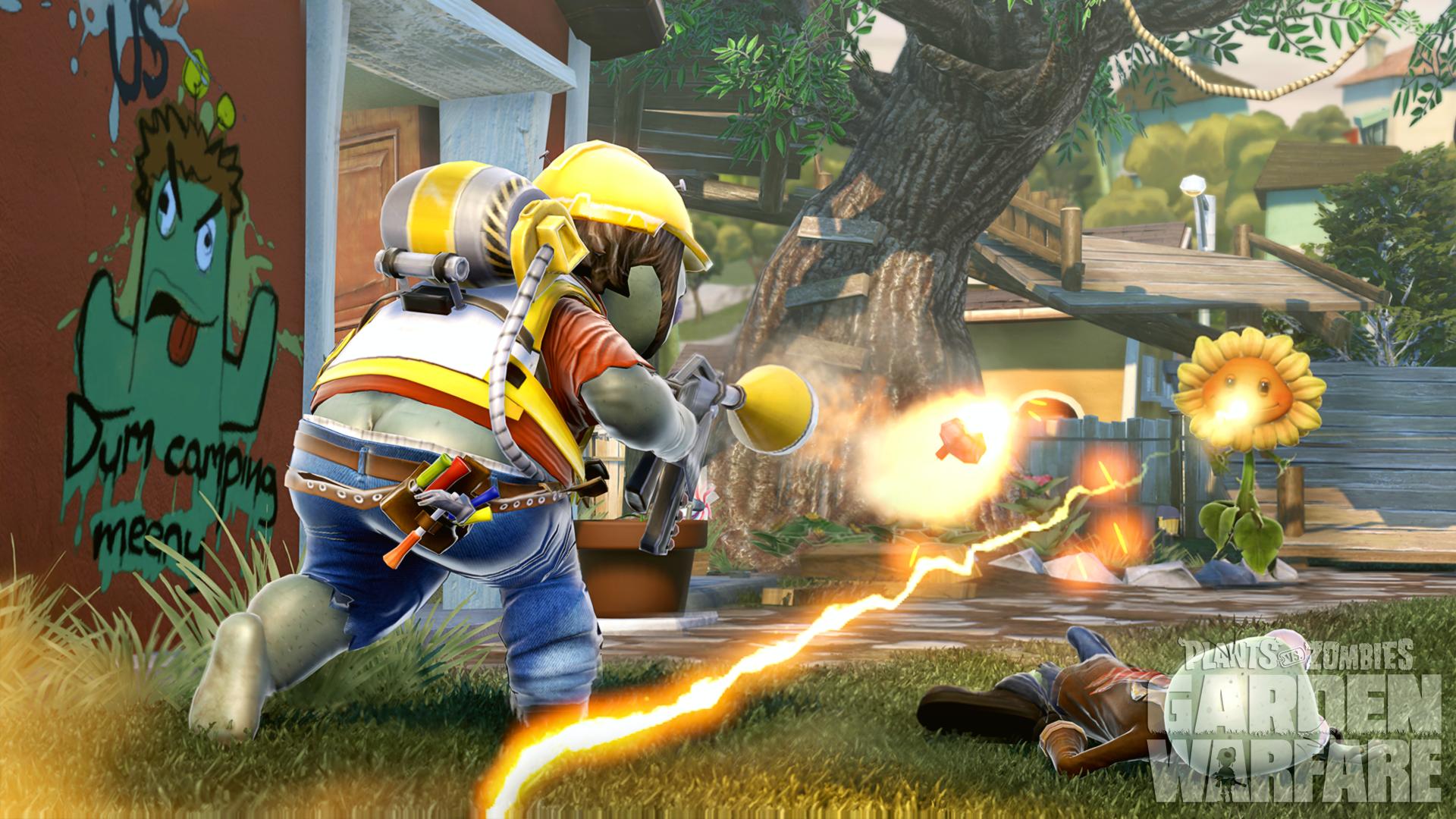 Pvz Gamescom  Wm A Shot Of An Engineer Battling With The Sunflower In Gardens Graveyards