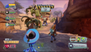 Plasma Pea fighting Mech Gargantuar as the team heads to the landing zone!