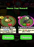 Choice between Potato Mine and Paparazzi Zombie