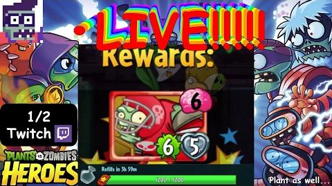 1 2 TWITCH First Defensive End Get! PvZH ZOMBIES ARE •LIVE!!! (Plants as well)