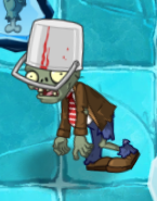 Buckethead Zombie in Frostbite Caves