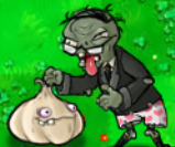 Newspaper zombie eating garlic without newspaper