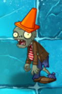 Conehead Zombie in Frostbite Caves