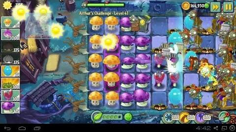 Arthur's Challenge Level 41 to 45 Boost battle Plants vs Zombies 2 Dark Ages