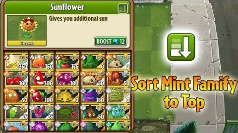 Plants vs. Zombies 2 - New Hidden Feature Sort Mint Family to Top