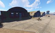 Airfield hangars view