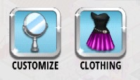 Customize and Clothing button