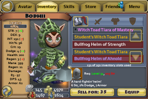 Bullfrog Helm of Ahnold