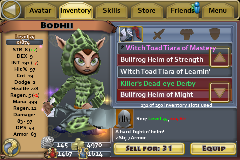Bullfrog helm of Might