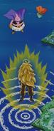 Super Saiyanin Three Goku od tyłu i Babidi z Majin Bu