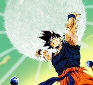 Goku podczas kumulacji Genki-Damy na Namek
