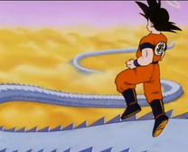Goku biegnie droga