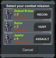 Selecting Combat Mission