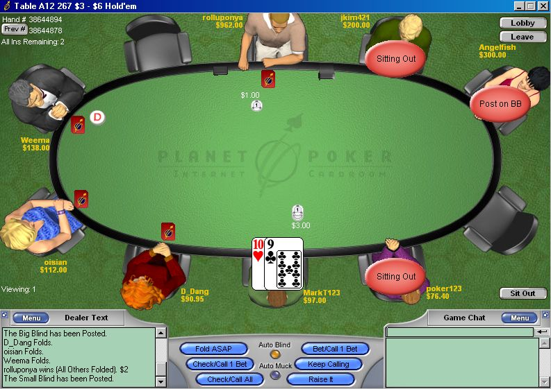 Planet Poker Screen