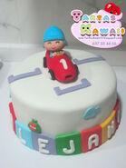 Tarta pocoyo racer car coche numero 1 fondant cake