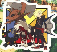 Gladion with Umbreon, Lycanroc and Type Null