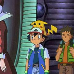 Эш, Брок, Мисти и загипнотизированная сестра Джой во владениях Мьюту